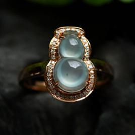 美不胜收天然冰玻璃种翡翠A货玉石葫芦戒指环女款
