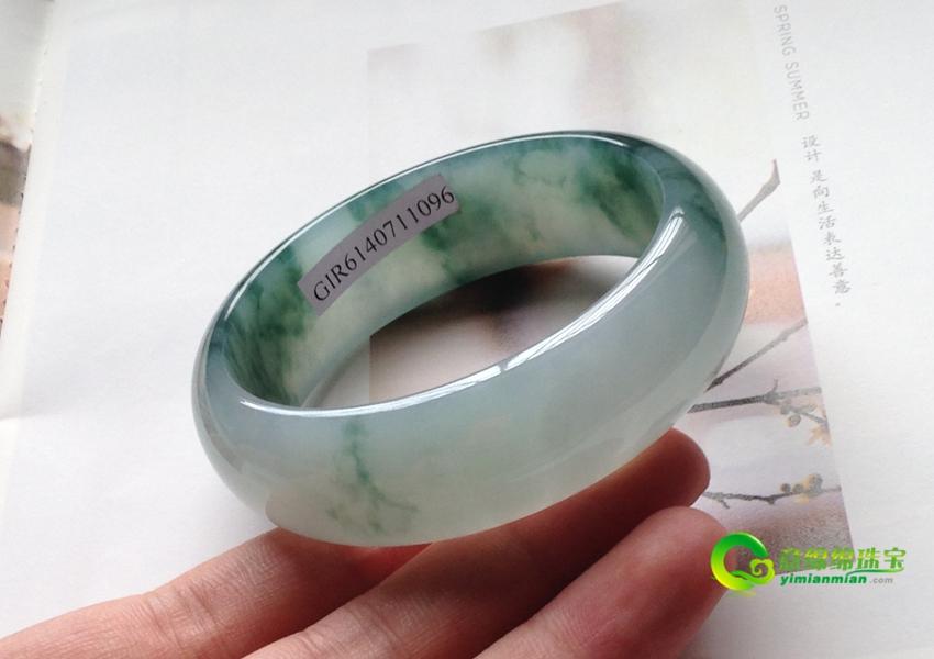 繁花倾城天然缅甸老坑A货冰种飘花翡翠手镯 57mm