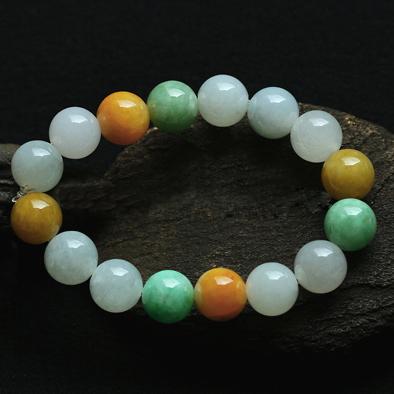 色彩斑斓天然缅甸A货冰糯种黄加绿翡翠手链