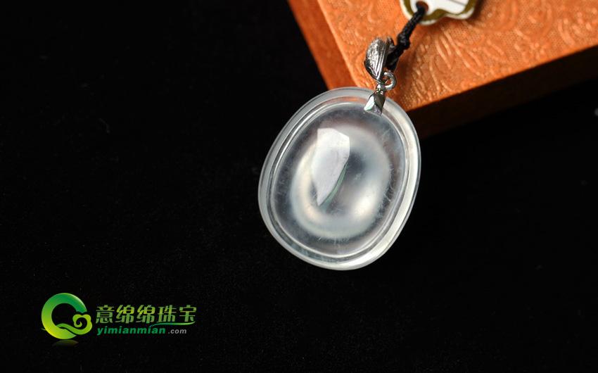 冰魂雪魄天然缅甸老坑A货玻璃种翡翠福贝挂件