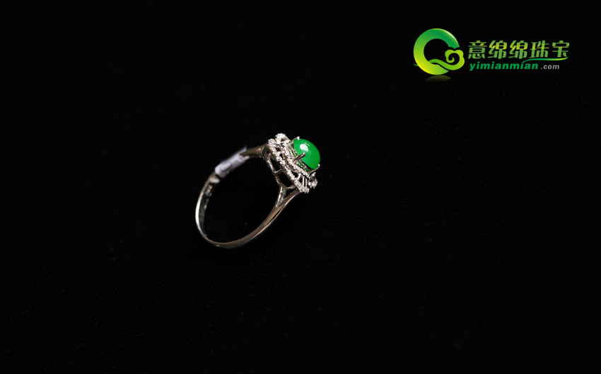 花艳心暖缅甸天然老坑翡翠A货冰种满绿戒指镶金指环