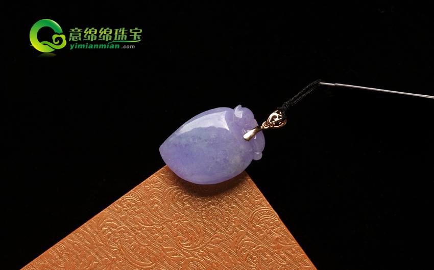 丁香紫兰天然缅甸翡翠A货冰糯种紫罗兰福瓜挂件