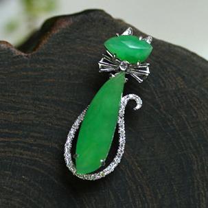 优雅时尚天然缅甸A货冰种满绿翡翠玉猫挂件吊坠