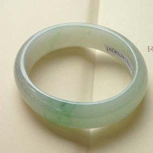 垂柳依依天然缅甸A货老坑冰种阳绿翡翠贵妃手镯 内径57mm