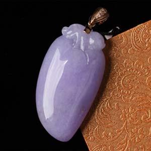 晶肌玉骨天然缅甸老坑A货冰糯种紫罗兰翡翠福瓜吊坠