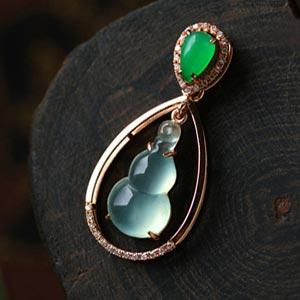 美若天仙天然缅甸A货翡翠玻璃种葫芦金钻石挂件