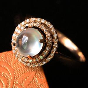 雪肤花貌缅甸天然翡翠A货玻璃种女款花戒指镶金指环