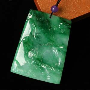 沅茝沣兰天然缅甸老坑A货翡翠冰糯种满绿方牌挂件