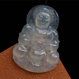 简约美好天然缅甸老坑A货冰种翡翠观音挂件