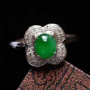 香艳夺目缅甸天然老坑翡翠A货玻璃种满绿戒指镶金指环