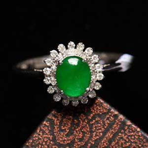 美目盼兮缅甸天然老坑翡翠A货玻璃种满绿戒指镶金指环