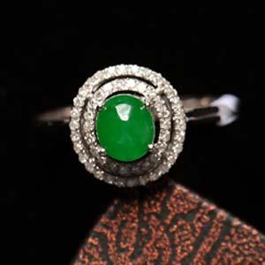 巧笑倩兮緬甸天然老坑翡翠A貨玻璃種滿綠戒指鑲金戒指