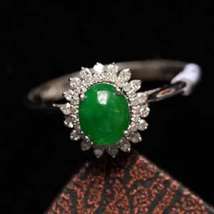 翠绿晶莹缅甸天然老坑龙8娱乐appA货冰种满绿戒指镶金指环