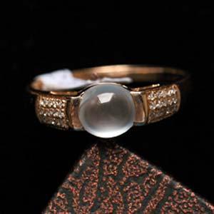 温文尔雅缅甸天然翡翠A货冰玻璃种女款戒指镶金指环