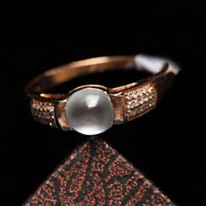 花颜月貌缅甸天然翡翠A货冰玻璃种女款戒指镶金指环