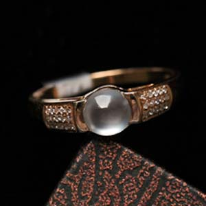 楚楚可人缅甸天然翡翠A货冰玻璃种女款戒指镶金指环