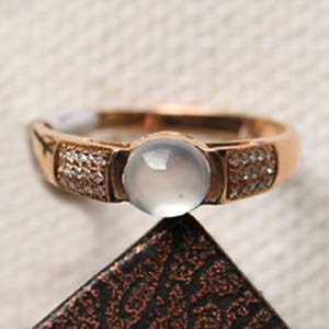玲珑剔透缅甸天然翡翠A货冰玻璃种女款戒指镶金指环