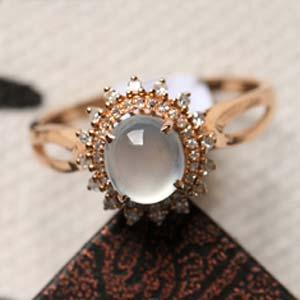 惊艳依然缅甸天然翡翠A货冰玻璃种女款戒指镶金指环