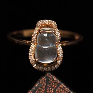 一见如故天然冰玻璃种翡翠A货玉石葫芦戒指环女款