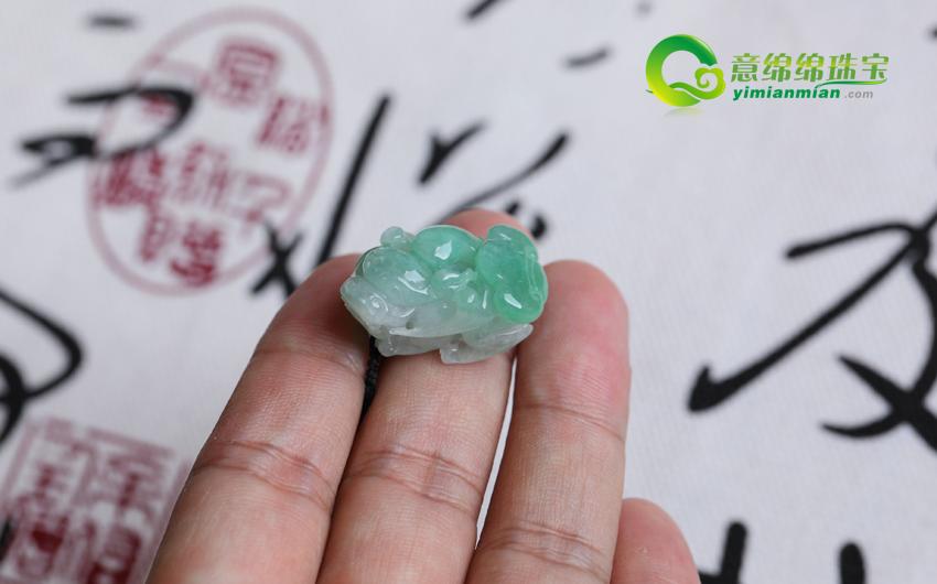 广纳财源天然缅甸老坑A货翡翠冰糯种飘绿貔貅挂件