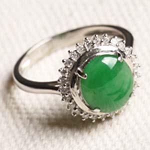 指尖轻舞天然缅甸老坑A货冰糯种满绿翡翠镶金戒指