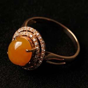 花影扶疏天然缅甸老坑A货冰糯种红黄翡翠镶金戒指
