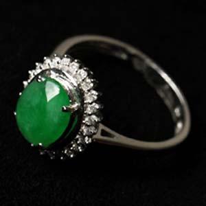 翠綠晶瑩天然緬甸老坑A貨冰糯種滿綠翡翠鑲金戒指