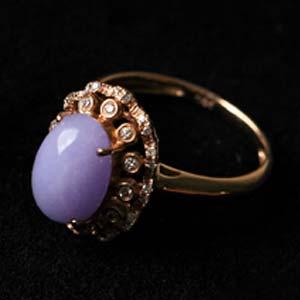 翠林紫轩天然缅甸老坑A货冰糯种紫罗兰翡翠镶金戒指