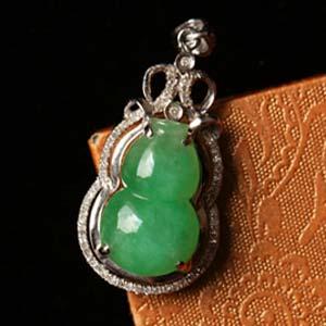 古色古香天然缅甸老坑A货冰糯种满绿翡翠葫芦镶金挂件