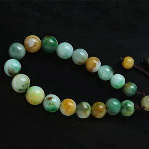 天然缅甸老坑A货黄加绿冰糯种翡翠手链佛珠链