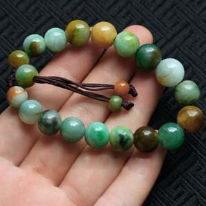 天然缅甸老坑A货黄加绿翡翠佛珠链手链