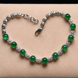 美若天仙天然缅甸老坑A货玻璃种满绿翡翠蛋面手链女款