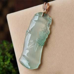 高风亮节天然缅甸老坑A货玻璃种翡翠竹节挂件