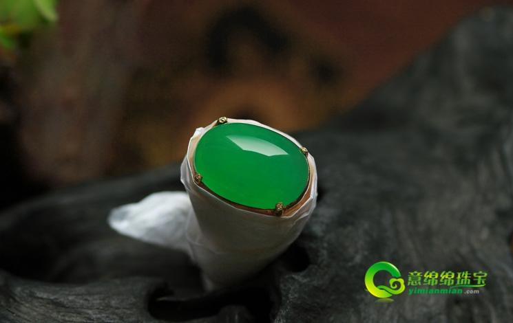 天然緬甸老坑A貨冰種滿綠翡翠蛋面戒指裸石