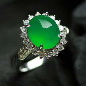 芙蓉如面天然缅甸老坑A货玻璃种满绿翡翠蛋面女款金钻戒指