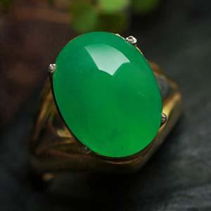 天然缅甸老坑A货冰种满绿翡翠戒指蛋面裸石