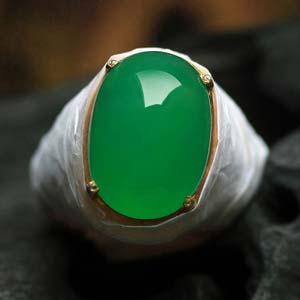 天然缅甸老坑A货冰种满绿翡翠蛋面戒指裸石