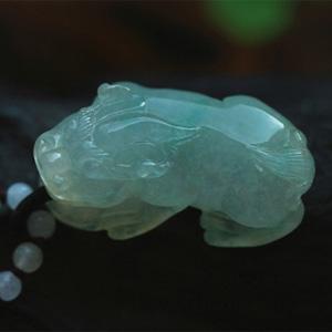 财源滚滚天然缅甸老坑A货冰种飘花翡翠貔貅珠链挂件