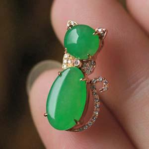 盈香满怀天然缅甸老坑A货冰种满绿翡翠招财猫挂件
