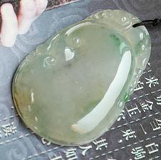 岁月静安缅甸天然翡翠A货冰种黄翡飘花貔貅挂件