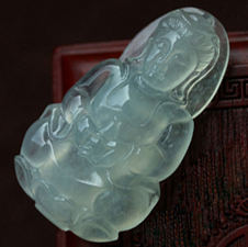 无尘可拂缅甸老坑翡翠A货玻璃种玉观音挂件