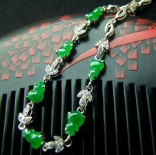 天然缅甸翡翠A货老坑冰种满绿镶金葫芦手链