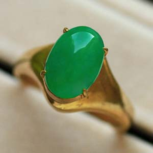 天然緬甸老坑A貨冰糯種滿綠翡翠裸石蛋面戒面戒指