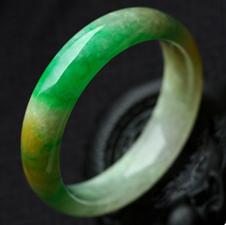 艳露凝香天然缅甸老坑A货冰糯种黄绿翡翠手镯内径55.8mm