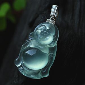 清澈明亮天然缅甸老坑A货玻璃种荧光翡翠弥勒佛公挂件