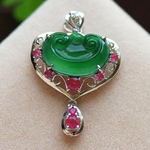 紅飛翠舞天然緬甸老坑A貨冰種滿綠翡翠紅寶石如意掛件