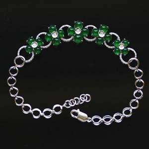 繁花似锦天然缅甸老坑A货玻璃种满绿翡翠镶金钻手链女款