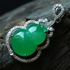 老坑冰種天然滿綠翡翠A貨鑲金鉆玉葫蘆吊墜
