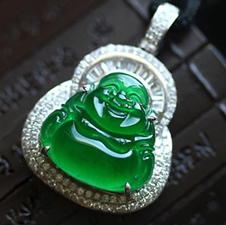 老坑天然玻璃種帝王綠翡翠A貨玉彌勒佛鑲金鉆吊墜