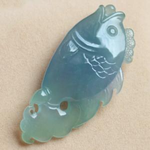 年年有余天然缅甸老坑A货冰糯种紫色翡翠鱼挂件